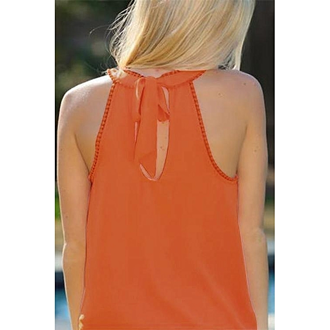 e4a26610c4b77 ... YOINS Women New High Fashion Clothing Casual Sleeveless Crew Neck  Orange Cami Top ...