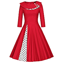 3/4 Sleeve Swing Prom Dress Plus Size - Red