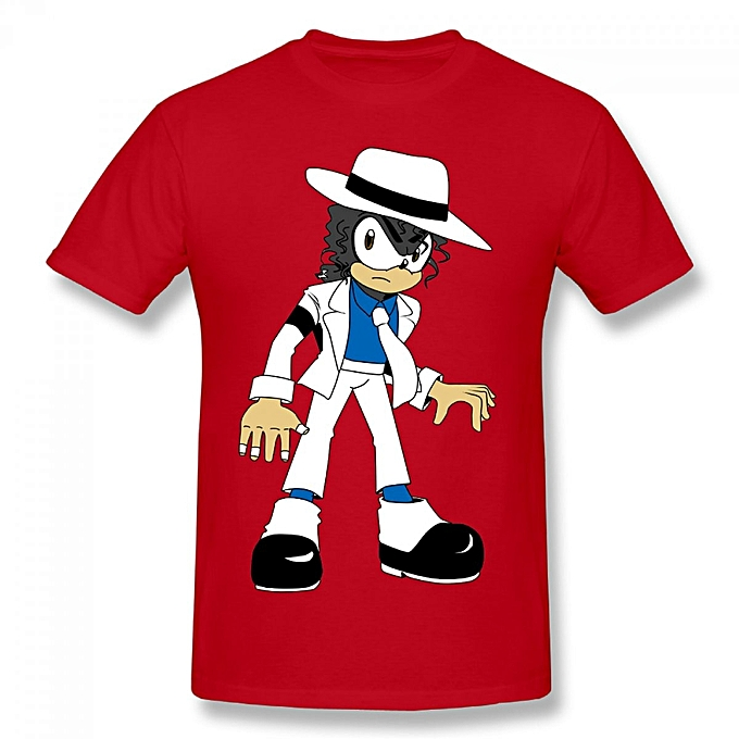 8d57b76935e3 Michael Jackson The Hedgehog Smooth Criminal Men's Cotton Short Sleeve  Print T-shirt Red