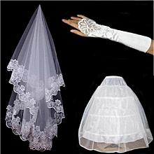 Women's Wedding Crinoline&Veil&gloves 3pcs SETS
