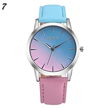Candy Color Leather Quartz Wristwatch For Students #7 - Blue & Pink