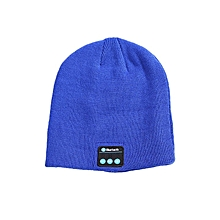 Knitted Bluetooth headset cap blue