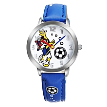 Blue Leather Kids Watch With White Dial