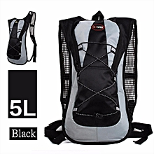 New 5L Hydration Backpack Rucksack 2L Straw Water Bladder Bag For Cycling Hiking Black-