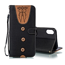 Splicing Embossed Female Style Horizontal Flip Leather Case for iPhone XS Max , with Holder & Card Slots & Wallet & Lanyard(Black)