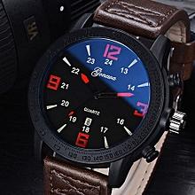Olivaren GONEWA Fashion Men Date Stainless Steel Leather Analog Quartz Sport Wrist WatchBrown