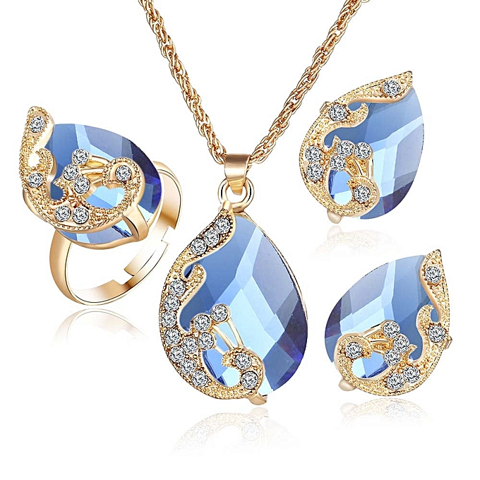 6425931f30 2017 Fashion Jewelry Sets For Women Crystal Necklace EarringsWedding