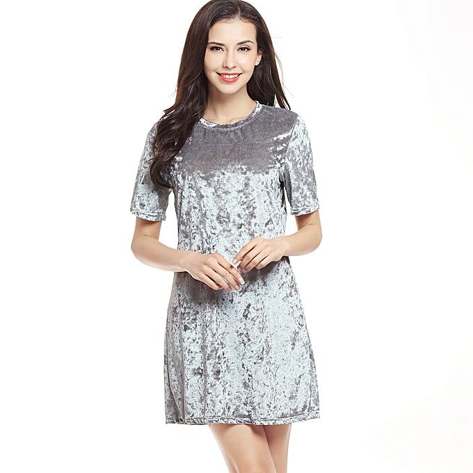 2352379f2dd3 Joker Swan Silk Diamond Loose Loose Round Neck Short-Sleeved Dress A Word  Skirt-