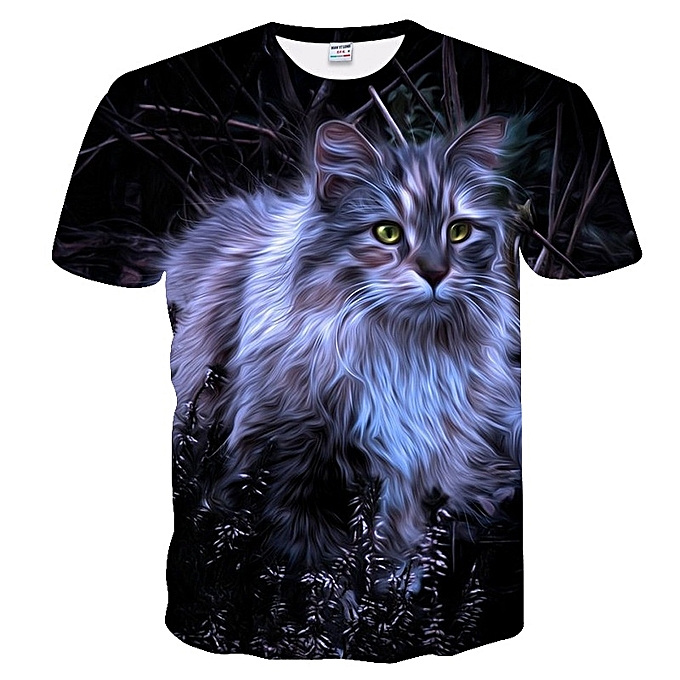 5e8b6f098560 New Stylish Men Leisure 3D Digital Bearded Cat Printed Short Sleeve T-shirt