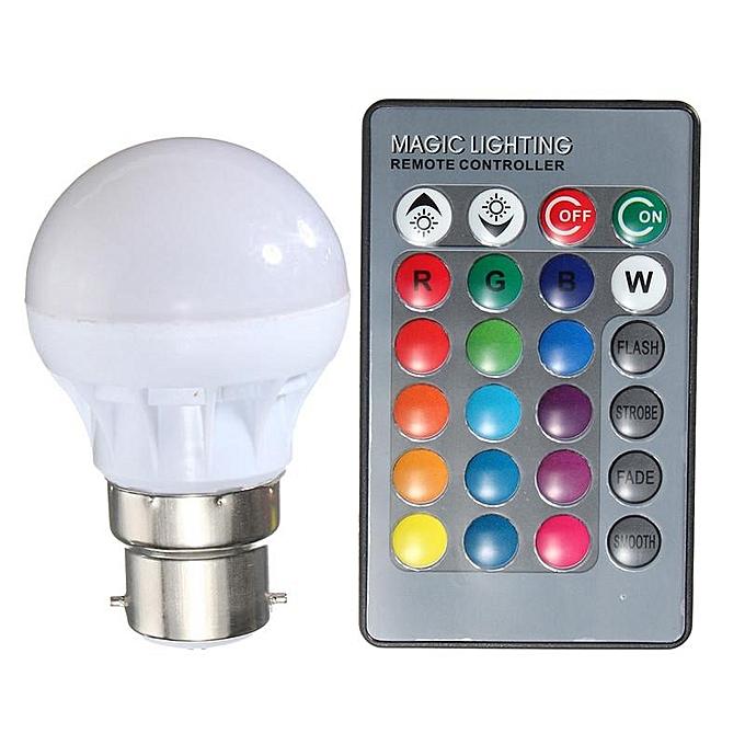 Buy Generic 3w 16 Colors Changing Rgb Led Light E27 B22 Bulb Lamp Ir