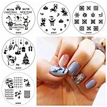 5pcs Christmas Snowman Nail Image Stamps Set Santa Claus Template Snowflake Snowman Manicure Salon