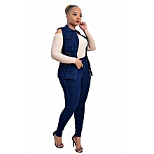 Womens Denim Suit (Trouser+Top) - Blue