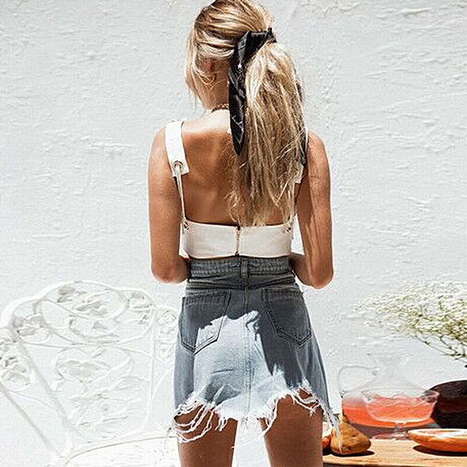 ae3521c8396e9e ... birthpar store Womens Lady Summer Casual Cold shoulder Sleeveless Solid  Vest Blouse Top Shirt-White ...