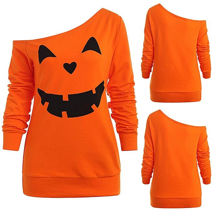 c38ceeb7 huskspo Women Halloween Pumpkin Print Long Sleeve Skew Collar Pullover  Sweatshirt Blouse