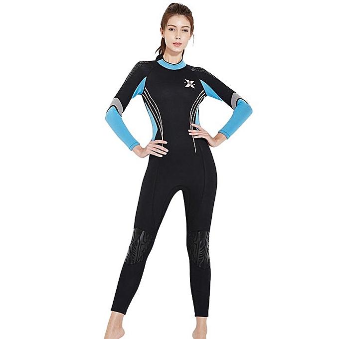 6eca212492 Winter Women 3MM Neoprene Wetsuit Rashguard Thick One Piece Swimwear Full  Suit Diving Snorkeling Suit Warm Surfing Jellyfish Swimsuit Suncreen - Blue