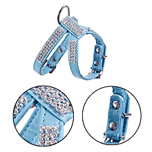 Rhinestone Dog Collar Pink/ Blue PU Chest Back Traction Rope With Teddy Bear