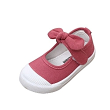 bluerdream-Toddler Kids Girl Fashion Butterf Knot Canvas Princess Shoes Crib Shoes-Hot Pink