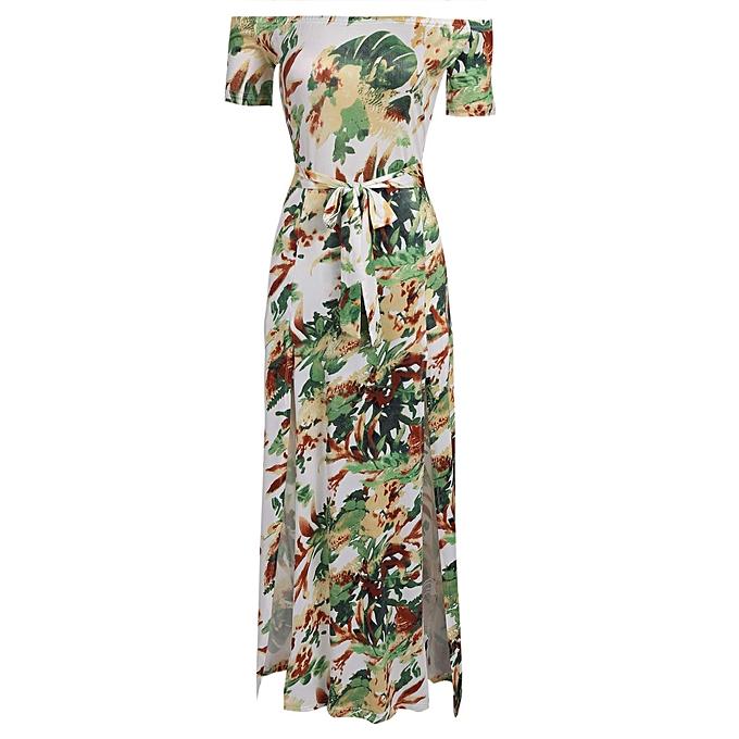 4bbeec0828057 Women's Off Shoulder Short Sleeve Floral Print Split Beach Maxi Dress With  Belt ( Beige )