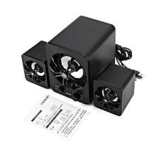 SADA D-207 Subwoofer Stereo Bass USB 2.1 Atmosphere LED Lighting Speakers Black