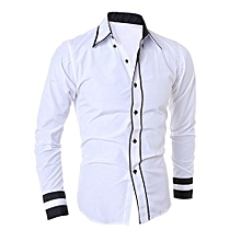 bluerdream-Men Shirt Fashion Solid Color Male Casual Long Sleeve Business Shirt WH/L- White
