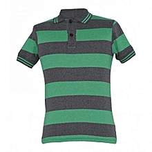 Green and Grey Stripped Polo Shirts