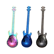 304 Stainless Steel Guitar Shape Coffee Stirring Spoons, Ice Bar Music Creative Gift Spoon Coated 5 PC