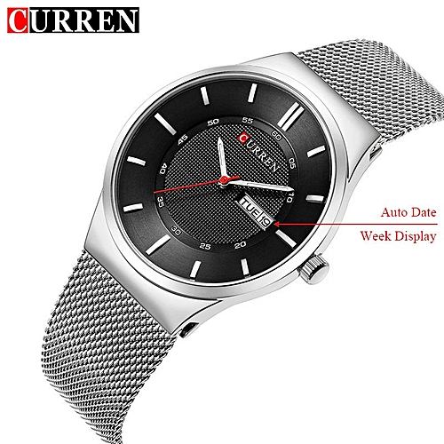 Men's Watches Quartz Watch Mens Stainless Steel Mesh Band Watches Mens Top Brand Fashion Bracelet Analog Wrist Watches Relogio Moderate Price