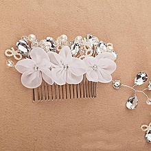 Pearl Crystal Bride Headdress By Hand Bridal Wedding Dress Accessories -White