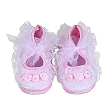 bluerdream-Baby Pre-Walker Shoes Rose Flowers Newborn Baby Shoes Soft Shoes PK 10- Pink
