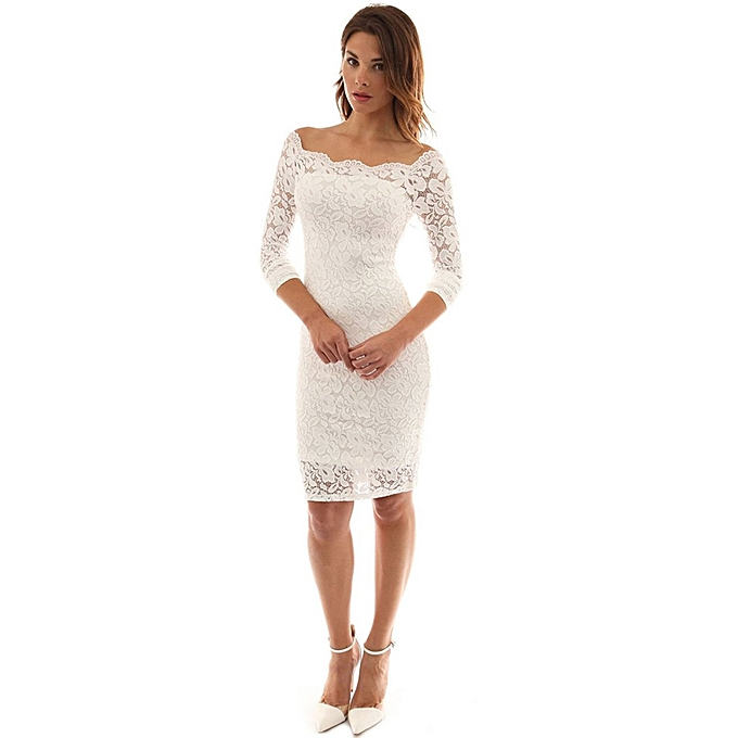 TB Women Lace Sexy Off Shoulder Knee Length Dress Long Sleeve Party Sheath  White eb58df208