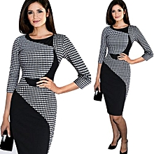 Women Plaid Fitted Pencil Dress - Checked