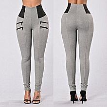 Plus Size Trousers High Waist Women Leggings Thin Leg Zipper Elastic Design Solid Mid-calf Pants