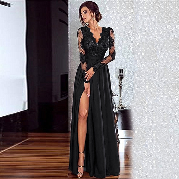 2cd99430c9c95 Sexy Women Lace Maxi Dress Deep V Neck Long Sleeve Side Split Slim Party  Formal Long