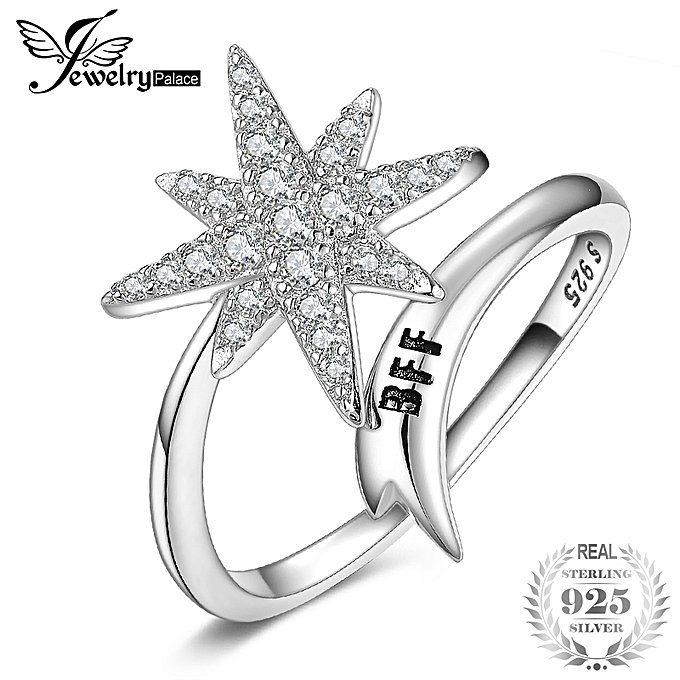 JewelryPalace CZ Shooting Star Open Ring 925 Sterling Silver
