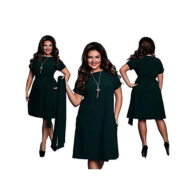 b3ef21d1f59af Hot Sale Women Casual O-neck Solid A-line Plus Size Dress Slim Short Sleeve  Vintage Belted Knee Length Summer Dress-green