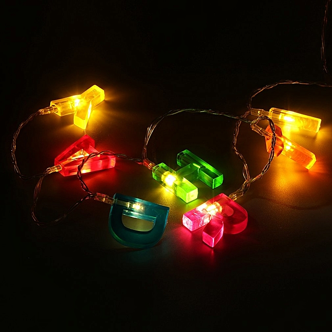 Colorful Letter Shaped HAPPY BIRTHDAY LED String Light Battery Party Decor Multicolor