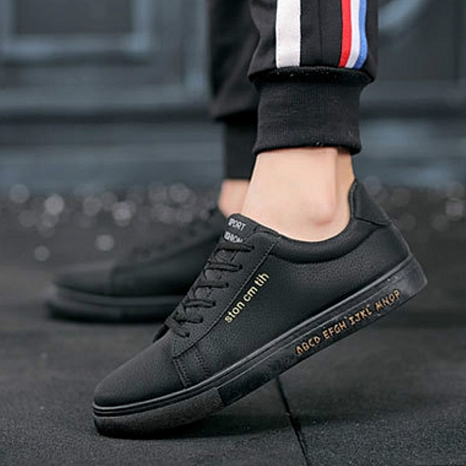 a37d08aaf2 Stylish Spring New Men s Leisure Shoes Korean Version Low Upper Board Shoes  Boys-Black