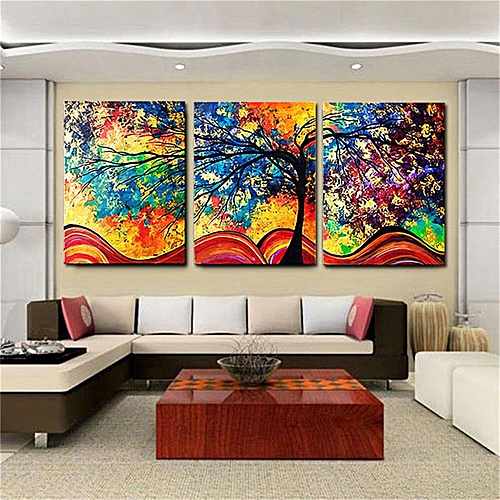 Generic 3pcs Abstract Colorful Tree Canvas Print Art Painting