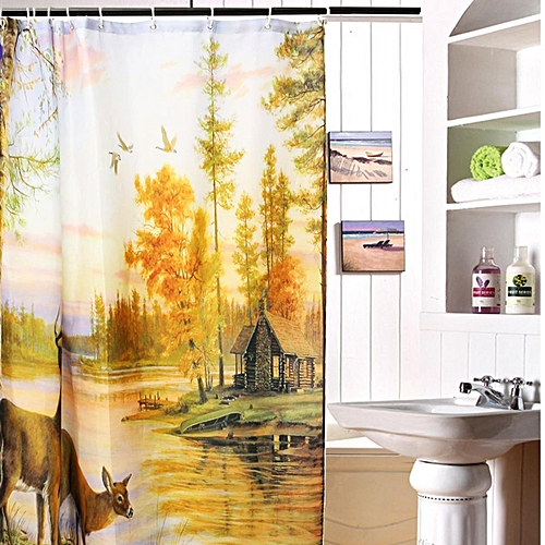 Generic Polyester Waterproof Deer Shower Curtain Home Bathroom Panel Decor With 12 Hook