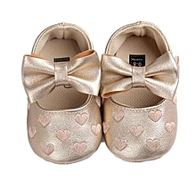 8a63c63d5d4c1 Baby Girl Bowknot Leater Shoes Sneaker Anti-slip Soft Sole Toddler- Gold