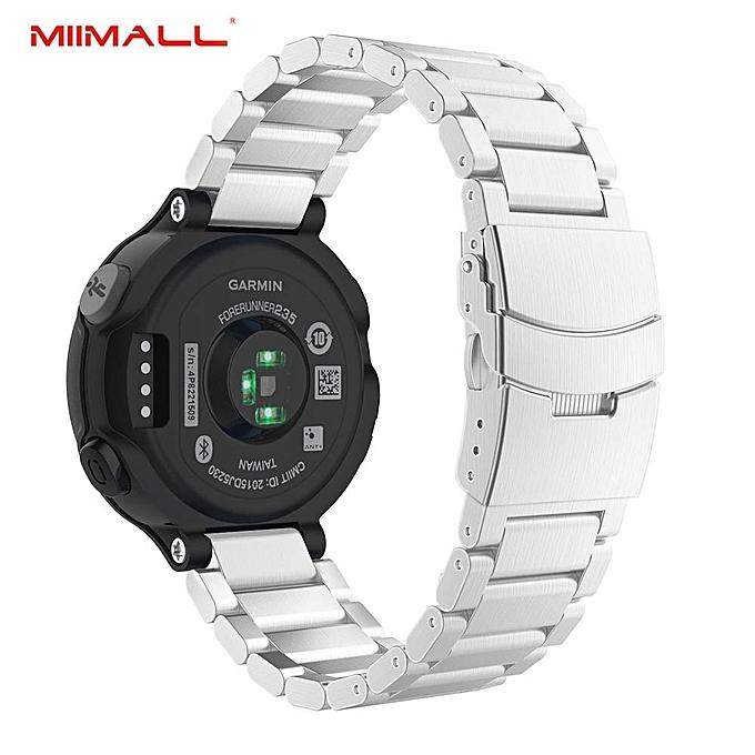 Garmin Forerunner 235 Strap, Stainless Steel Replacement Watch Band Strap  Bracelet for Garmin Forerunner 235/ 220/ 230/ 620/ 630 Smart Watch (Silver)