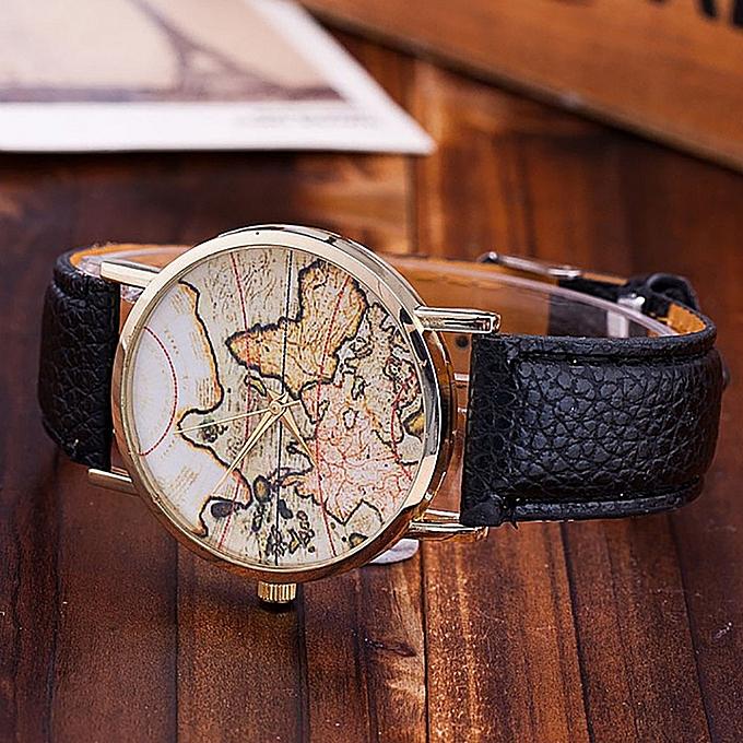 LVPAI Fashion Women\'s World Map Leather Strap Analog Quartz Wrist ...