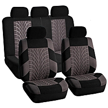 Car Seat Covers Full Set Polyester Steering Wheel /Cover Belt Pads 5 Heads Gray