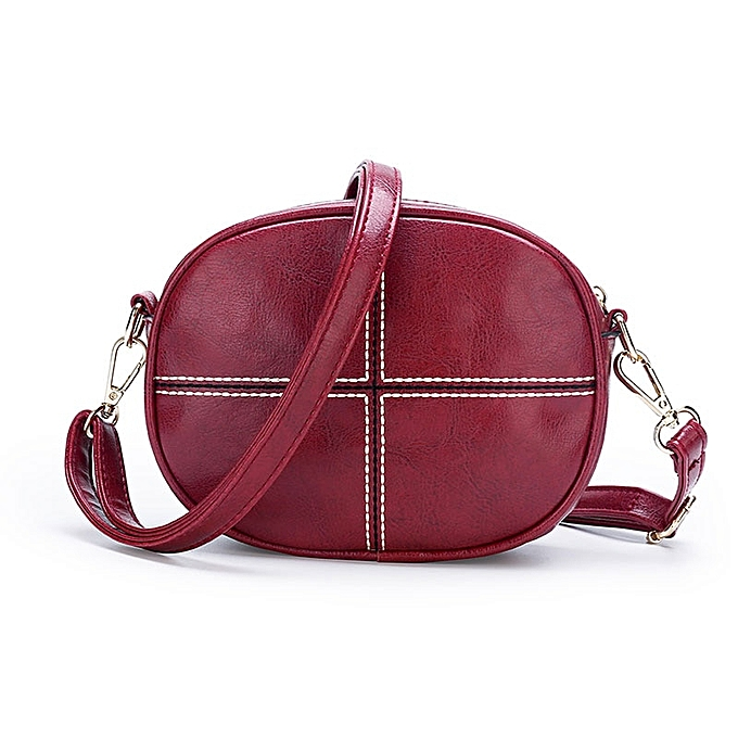 9ad4f0505854 Vintage Round Crossbody Bag Clutch Women PU Leather Shoulder Bags Purse  Ladies Small Handbags Mini Tote Bag(Red)
