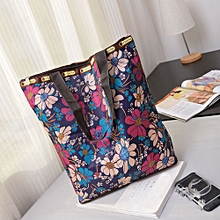 guoaivo Floral Printed Canvas Tote Shopping Bags Large Capacity Canvas Beach Bag S