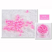 12 Colors Pearl 10g/Box Nail Glitter Nail Beads Do Not Fade Pearl Nail Decorat -Hot Pink