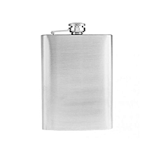 7oz Plain Hip Flask 1 Metallic Silver Funnel and 2 Tot Glasses