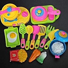 17Pcs Children Kids Funny Kitchenware Cookware Food Plastic Toy Kitchen Play Set.,
