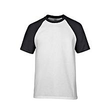 Men's Preshrunk Contrast Shoulder Sleeve T-Shirt (White/Black)