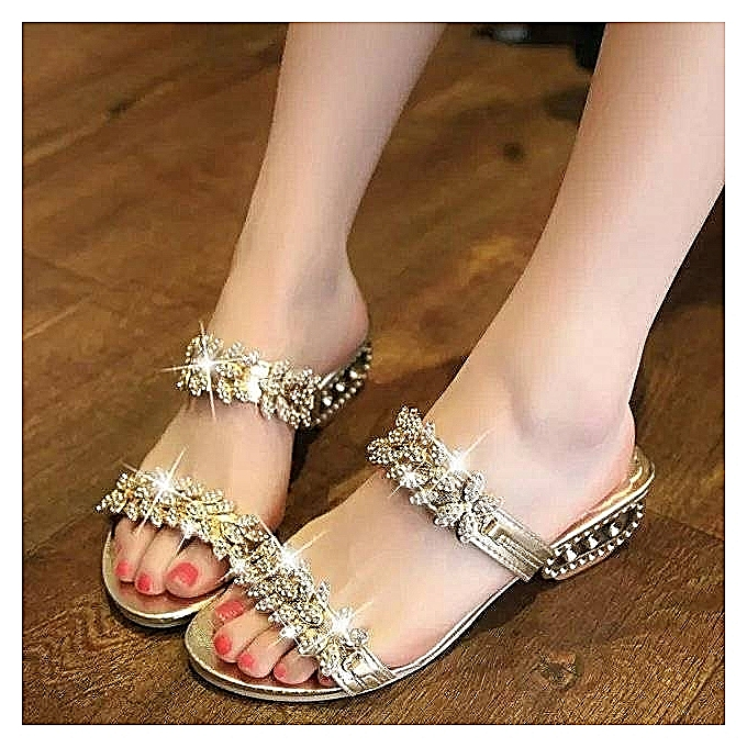 1d6dd1c3f936 Fashion Rhinestone Gold Sandals Shoes Women Female Flat Open Toe Party Sandals  High Heels Lady Shoes